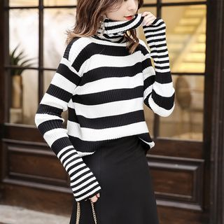 Turtleneck Two-Tone Sweater Stripes - Black & White - One Size 1068422532