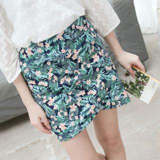 Floral Print Folded Mini Skirt