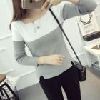Color Block Long-Sleeve Knit Top 1596