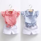 Kids Set: Frilled Sleeve Striped Shirt + Shorts 1596