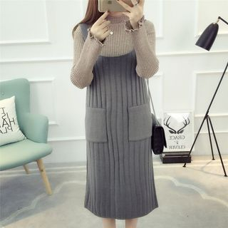 Pocketed Rib Knit Midi Pinafore Dress 1055266919