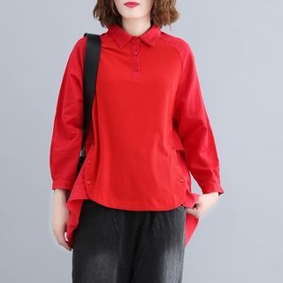 Polo Collar Knit Panel Long-Sleeve Top Red - One Size 1069386705