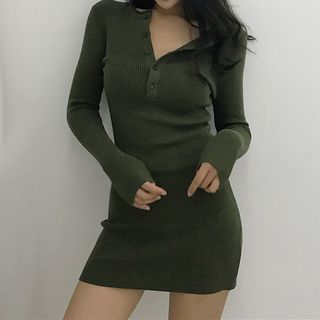Long-Sleeve Ribbed Mini Knit Dress 1069303743