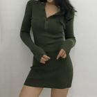 Long-Sleeve Ribbed Mini Knit Dress 1596