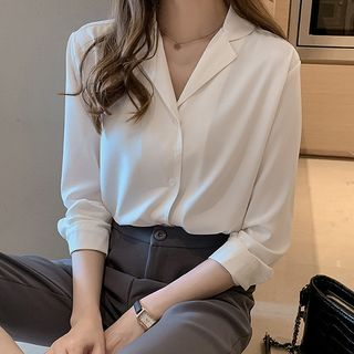 Happo Plain V-Neck Blouse
