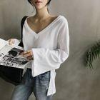 V-Neck Bell-Sleeve T-Shirt 1596