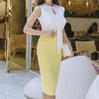 Set: Sleeveless Ruffled Top + Pencil Skirt 1596