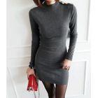 Metallic-Button Mock-Neck Mini Dress 1596