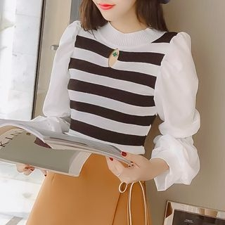 Puff-Sleeve Striped Knit Top Black & White - One Size 1068412516