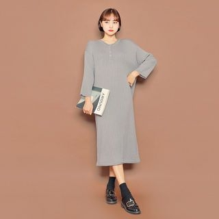 Half-Placket Ribbed Knit Dress 1069049653