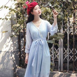 Long-Sleeve Tie-Waist Midi A-Line Chiffon Dress 1069301672