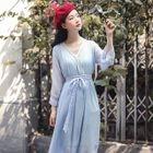 Long-Sleeve Tie-Waist Midi A-Line Chiffon Dress 1596