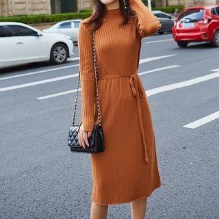 Mock Neck Tie-Waist Midi Ribbed Knit Dress 1069043407