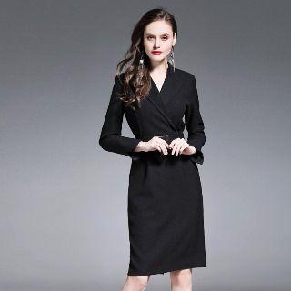 Long-Sleeve Tie-Waist Dress 1065613059