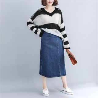 Striped Sweater Black & White - One Size 1068901537