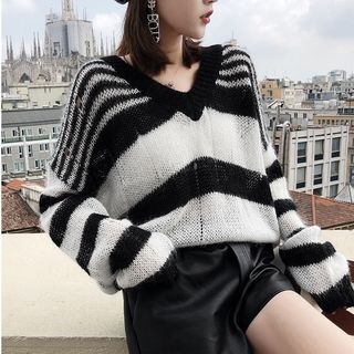 Striped Panel Ripped Sweater Black & White - One Size 1068327566