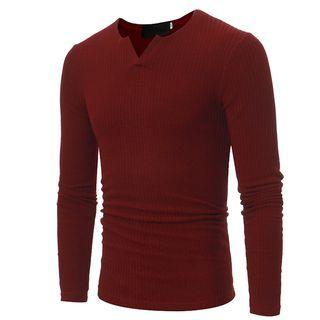 V-Neck Ribbed Long-Sleeve T-Shirt 1062098150