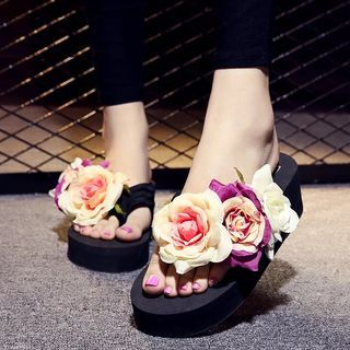 Platform Flower Flip-Flops