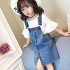 Kids Buttoned Denim Pinafore Dress 1596