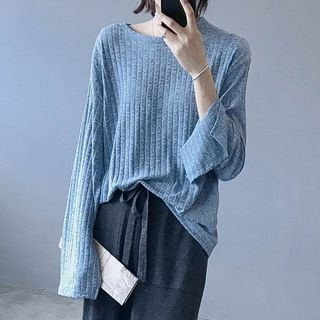 Long-Sleeve Rib Knit Top 1069216711