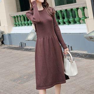 Long-Sleeve Ribbed Midi A-Line Dress 1069291525