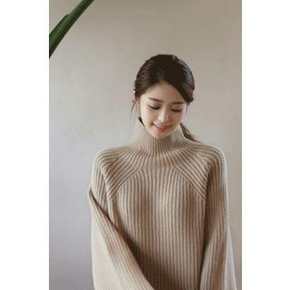 Mock-Neck Wool Blend Rib Sweater 1062893271