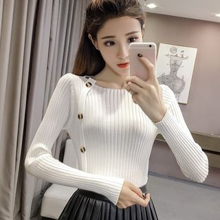 Ribbed Long-Sleeve Knit Top 1063244443