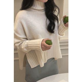 Turtleneck Wool Blend Rib Sweater 1069121586