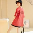 Lettering Elbow Sleeve T-Shirt 1596