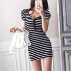 Stripe Slim-Fit Henley Dress 1596