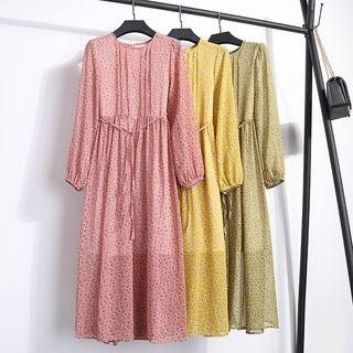Long-Sleeve Printed Tie-Waist Dress 1065780862