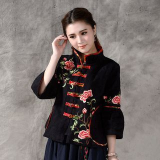 Floral Embroidered Chinese Frog Button Jacket