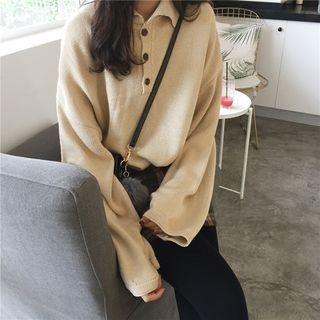 Plain Long-Sleeve Polo Knit Top 1068886270