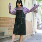Contrast Stitch Denim Pinafore Dress 1596