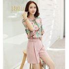 Set: Elbow-Sleeve Floral Top + Plain Shorts 1596