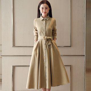 Long-Sleeve Tie-Waist Dress 1066236762