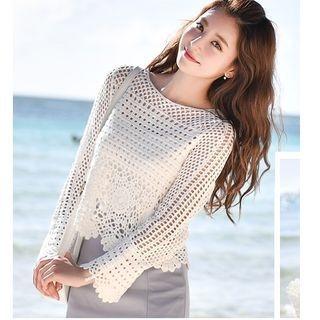 Long-Sleeve Open Knit Top 1062608440