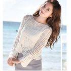 Long-Sleeve Open Knit Top 1596
