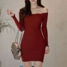 Off-Shoulder Mini Knit Dress 1596