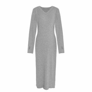 Long-Sleeve Ribbed Midi Knit Dress 1069375587