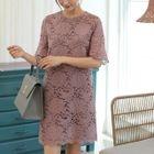 Round-Neck Lace Mini Dress 1596