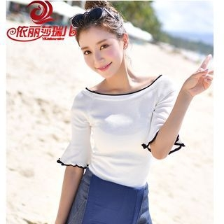 Bell Elbow-Sleeve Knitted Top 1059997502
