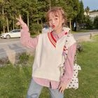 Plaid Shirt/ V-Neck Color Block Knit Vest 1596